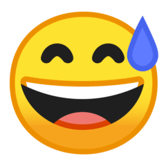 Grinning Face With Sweat Emoji on Google Android and Chromebooks