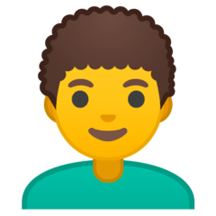 Man, Curly Haired Emoji on Google Android and Chromebooks