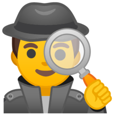 Man Detective Emoji on Google Android and Chromebooks