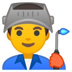 Man Factory Worker Emoji on Google Android and Chromebooks