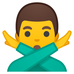 Man Gesturing NO Emoji on Google Android and Chromebooks