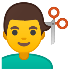 Man Getting Haircut Emoji on Google Android and Chromebooks
