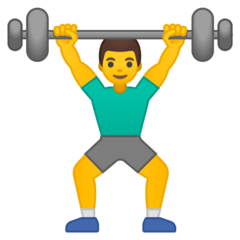 Man Lifting Weights Emoji on Google Android and Chromebooks