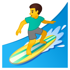 Man Surfing Emoji on Google Android and Chromebooks