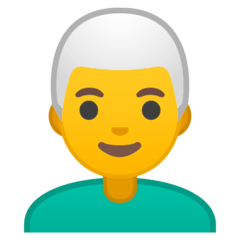Man, White Haired Emoji on Google Android and Chromebooks