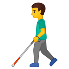Man With White Cane Emoji on Google Android and Chromebooks