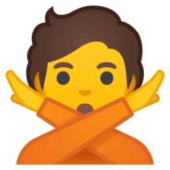 Person Gesturing NO Emoji on Google Android and Chromebooks