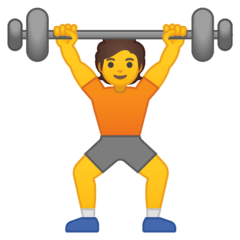 Person Lifting Weights Emoji on Google Android and Chromebooks