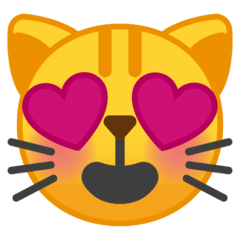 Smiling Cat With Heart-Eyes Emoji on Google Android and Chromebooks