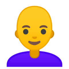 Woman, Bald Emoji on Google Android and Chromebooks
