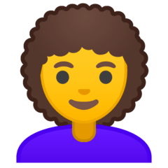 Woman, Curly Haired Emoji on Google Android and Chromebooks
