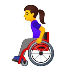 Woman In Manual Wheelchair Emoji on Google Android and Chromebooks