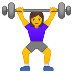 Woman Lifting Weights Emoji on Google Android and Chromebooks