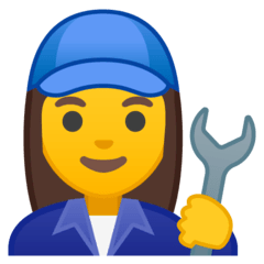 Woman Mechanic Emoji on Google Android and Chromebooks