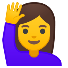 Woman Raising Hand Emoji on Google Android and Chromebooks