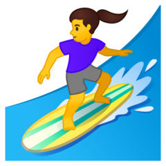 Woman Surfing Emoji on Google Android and Chromebooks