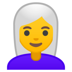 Woman, White Haired Emoji on Google Android and Chromebooks