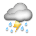 Cloud With Lightning and Rain Emoji on LG Phones