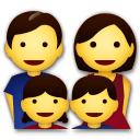 Family: Man, Woman, Girl, Boy Emoji on LG Phones