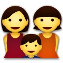 Family: Woman, Woman, Boy Emoji on LG Phones