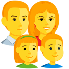 Family: Man, Woman, Girl, Boy Emoji in Messenger