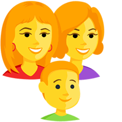 Family: Woman, Woman, Boy Emoji in Messenger