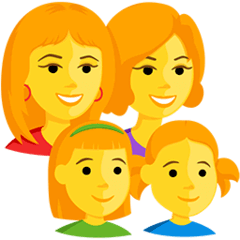 Family: Woman, Woman, Girl, Girl Emoji in Messenger