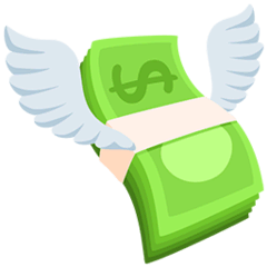 Money With Wings Emoji in Messenger