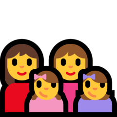 Family: Woman, Woman, Girl, Girl Emoji on Windows
