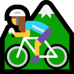 Woman Mountain Biking Emoji on Windows