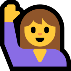 Woman Raising Hand Emoji on Windows
