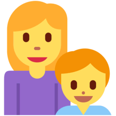 Family: Woman, Boy Emoji on Twitter