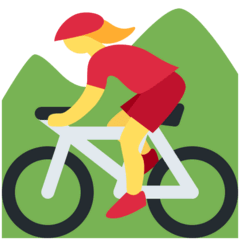 Woman Mountain Biking Emoji on Twitter