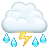 Cloud With Lightning and Rain Emoji on WhatsApp