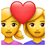 Couple With Heart: Woman, Woman Emoji on WhatsApp