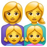 Family: Woman, Woman, Girl, Girl Emoji on WhatsApp