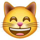 Grinning Cat With Smiling Eyes Emoji on WhatsApp