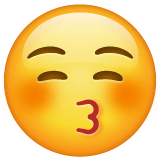 Kissing Face With Closed Eyes Emoji on WhatsApp