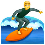 Man Surfing Emoji on WhatsApp