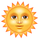 Sun With Face Emoji on WhatsApp
