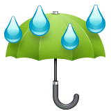 Umbrella With Rain Drops Emoji on WhatsApp