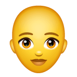 Woman, Bald Emoji on WhatsApp