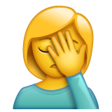 Woman Facepalming Emoji on WhatsApp