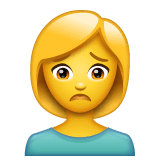 Woman Frowning Emoji on WhatsApp