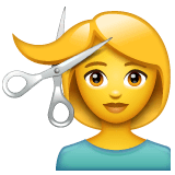 Woman Getting Haircut Emoji on WhatsApp