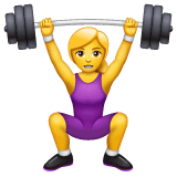 Woman Lifting Weights Emoji on WhatsApp