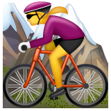 Woman Mountain Biking Emoji on WhatsApp