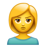 Woman Pouting Emoji on WhatsApp