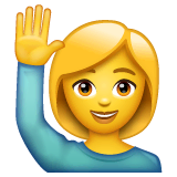 Woman Raising Hand Emoji on WhatsApp